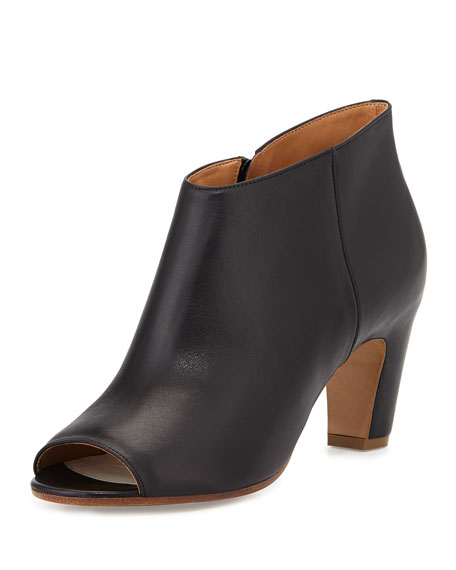 Maison Margiela Leather Open-Toe Curved-Heel Bootie, Black