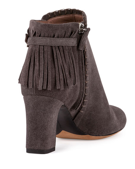 Surrey Fringe Suede Ankle Bootie, Gray