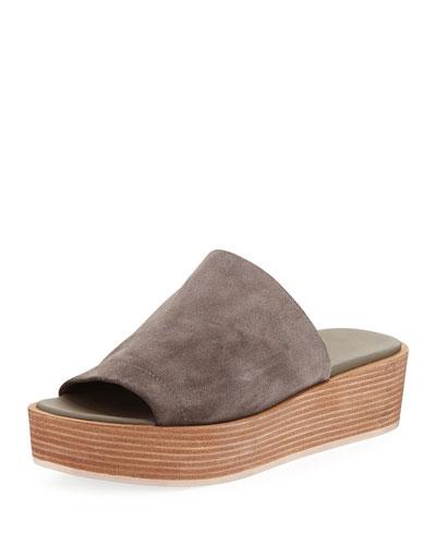 Saskia Platform Slip-On Wedge Sandal, Charcoal