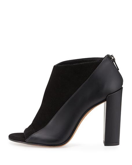 Bayard Two-Tone Leather Open-Toe Bootie, Black