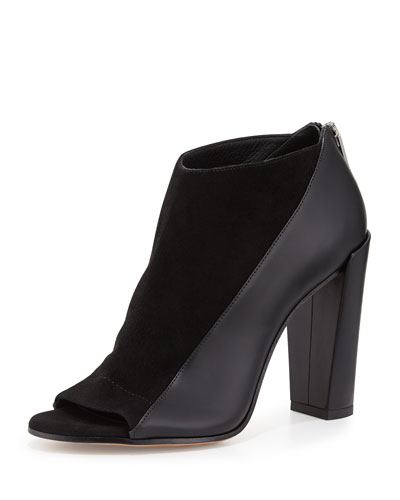 Bayard Two-Tone Leather Open-Toe Bootie, Black