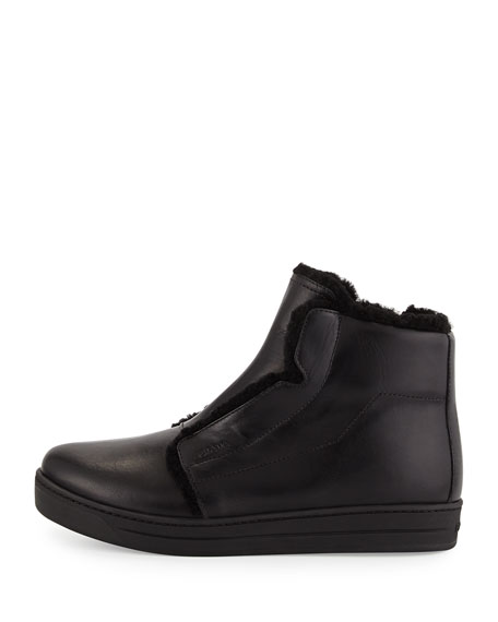Shearling-Lined High-Top Sneaker, Black (Nero)