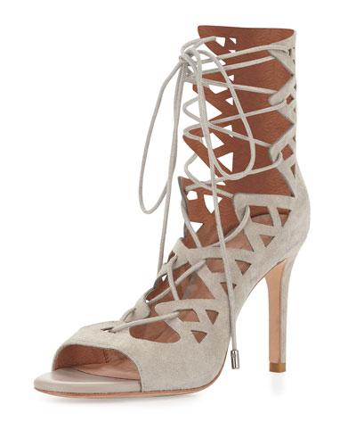 Quinn Suede Lace-Up Sandal, Sandstone