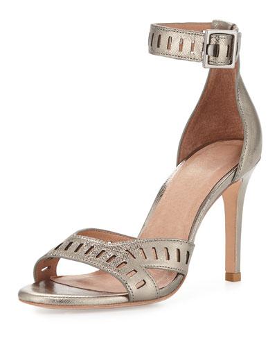 Airlie Metallic Cutout Sandal, Gunmetal