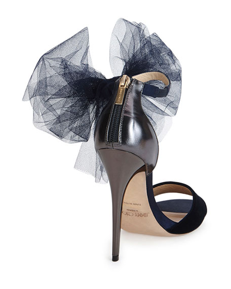 Jimmy Choo Lilyth Tulle Bow Evening Sandal, Navy/Anthracite