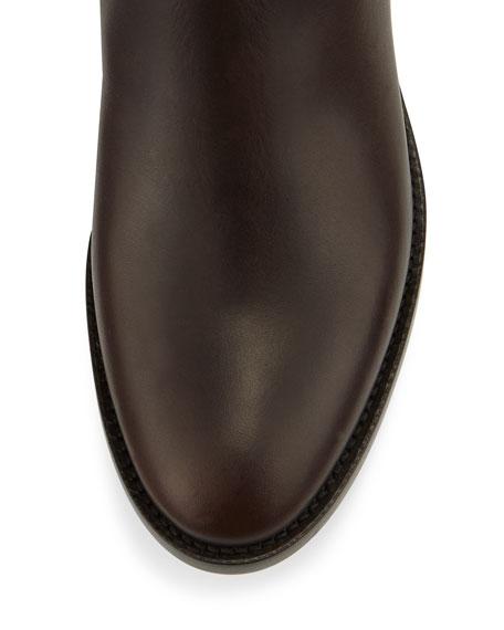 Hyson Flat Leather Knee Boot, Mocha