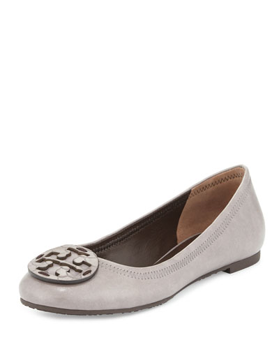 Reva Leather Ballet Flat, Taupe