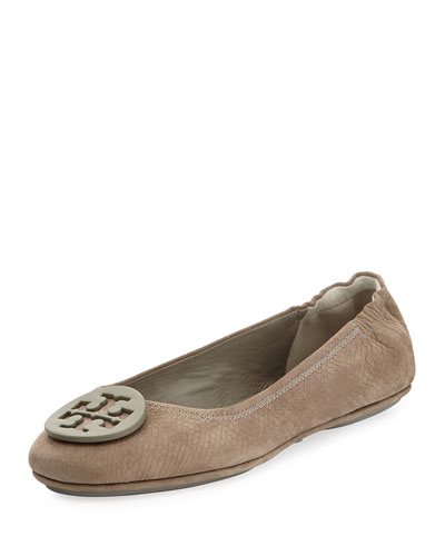 Minnie Snake-Embossed Travel Ballet Flat, Granite