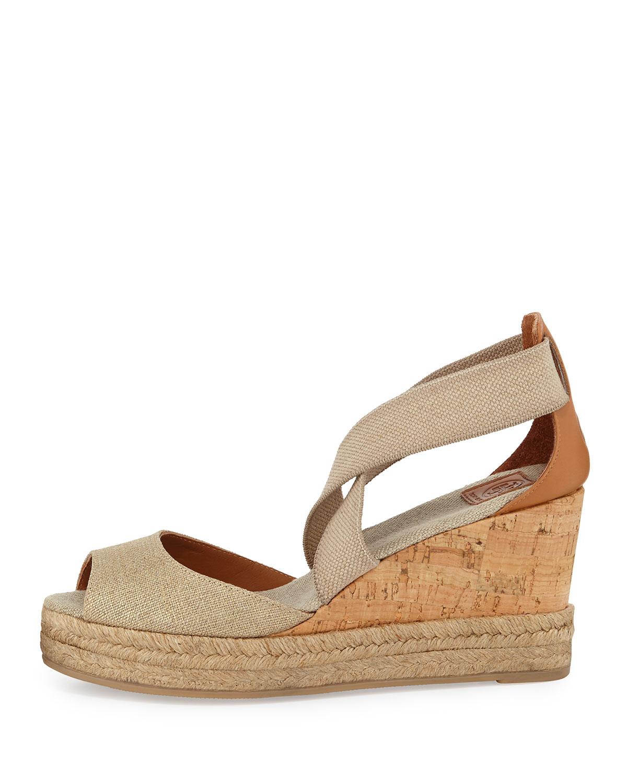 6468bbe350 Tory Burch Peep-Toe Cork Wedge Sandal, Gold | Neiman Marcus