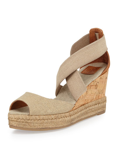 Peep-Toe Cork Wedge Sandal, Gold