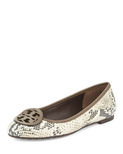 Louisa Logo Ballet Flat, Natural