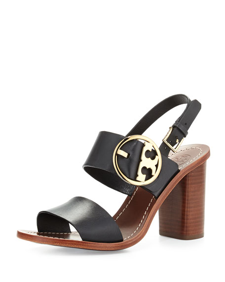 Tory Burch Grant Leather City Sandal, Black