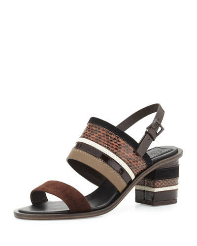 Cilla Multi-Stripe City Sandal, Brown