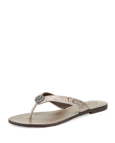 Thora 2 Logo Thong Sandal, Pewter