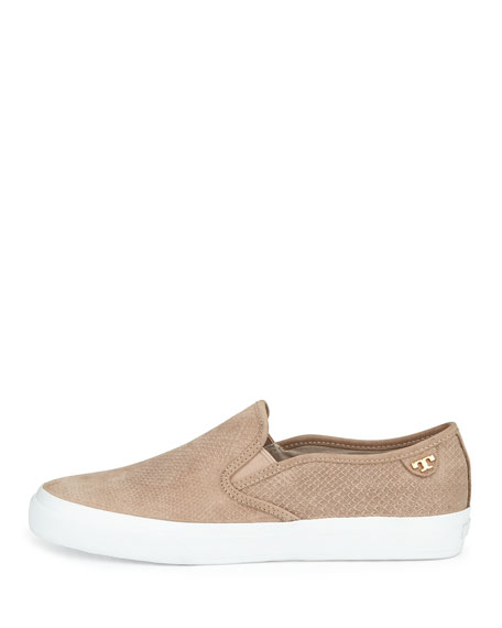 Tory Burch Floyd Slip-On Leather Sneaker, Taupe
