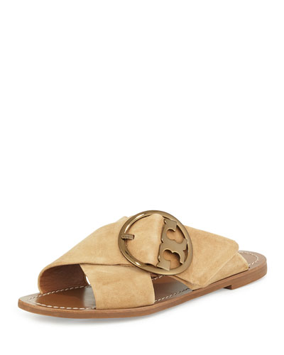 Grant Suede Sandal Slide, French Luggage
