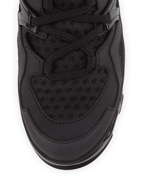 Ninja Rubberized Leather Sneaker, Black