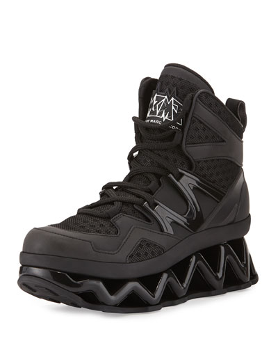 Ninja Rubberized Leather Sneaker, Black