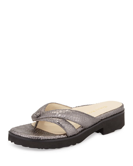 Taryn Rose Tacy Double-Strap Thong Sandal, Pewter