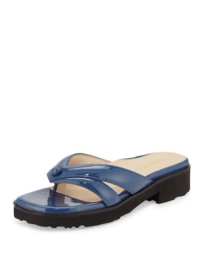 Tacy Double-Strap Thong Sandal, Delft Blue