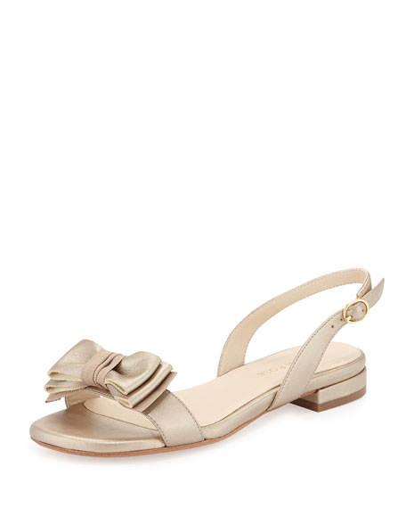 Taryn Rose Inger Low-Heel Bow Sandal, Camel/Gold