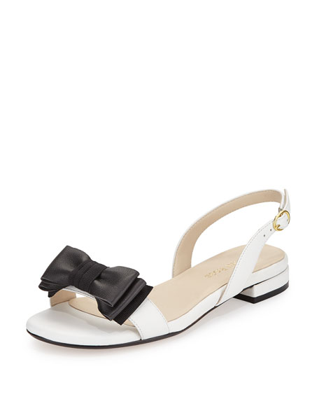 Taryn RoseInger Low-Heel Bow Sandal, White/Black