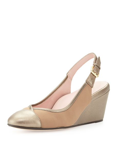 Taryn Rose Karine Metallic Slingback Wedge Pump, Quartz