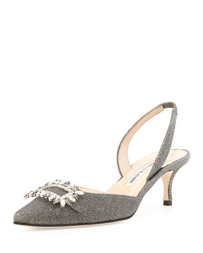 Tonoslac Crystal Buckle Slingback Pump, Anthracite