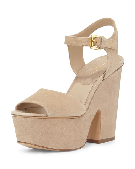 Michael Kors Collection Harley Suede Platform Sandal, Fawn