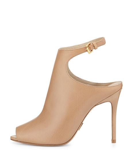 Cece Open-Toe Ankle-Strap Bootie, Toffee