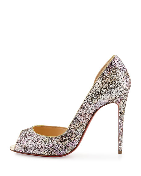 Demi You Glittered Red Sole Pump, Rosette Gold
