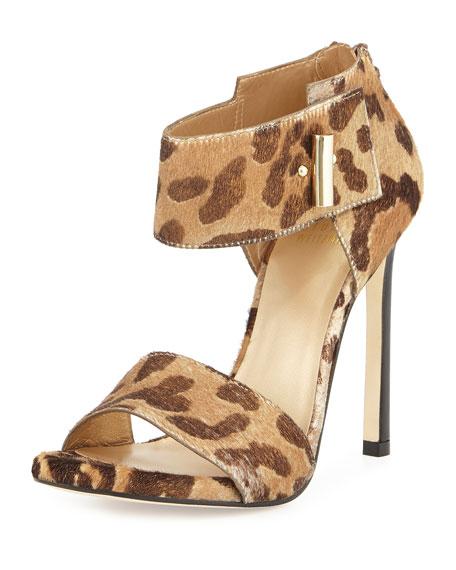 Stuart Weitzman Aloof Leopard-Print Calf-Hair Sandal, Dorado