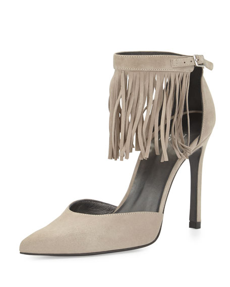 Stuart Weitzman Fringelica Suede Pointed-Toe Pump, Fossil
