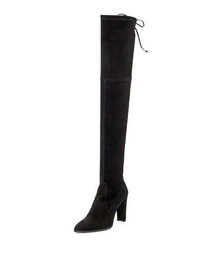 Highstreet Suede Stretch Over-the-Knee Boot, Black