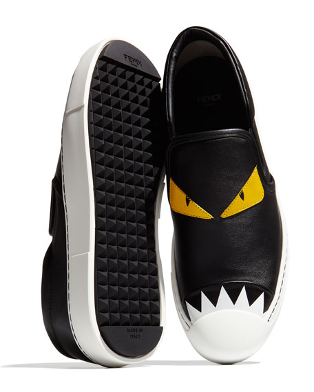 Leather Monster Skate Sneaker, Black