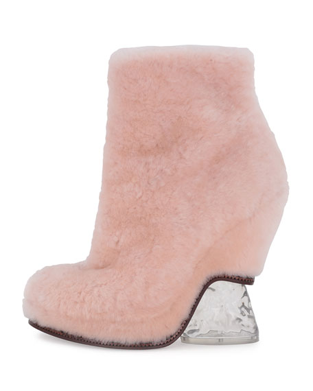 Shearling Fur Ice-Heel Boot, Light Rose