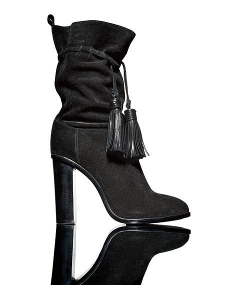 Suede Tassel Mid-Calf Boot, Black