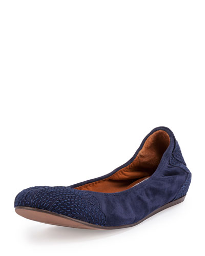 Suede Topstitched Ballet Flat, Navy Blue