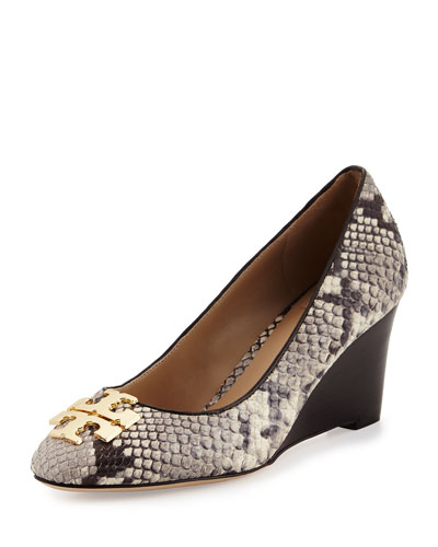 Raleigh Snake-Embossed Wedge Pump, Roccia/Coconut
