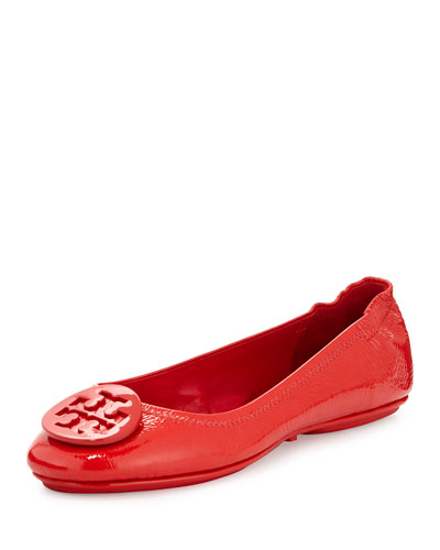 Minnie Patent Leather Travel Ballet Flat, Cerise