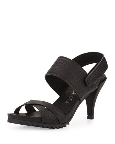 Whoopi High-Heel Crisscross Sandal, Black