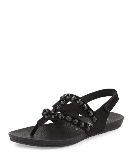 Pedro Garcia Jory Jewel-Embellished Sandal, Black
