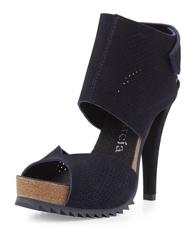 Petal Perforated Leather Sandal, Blue