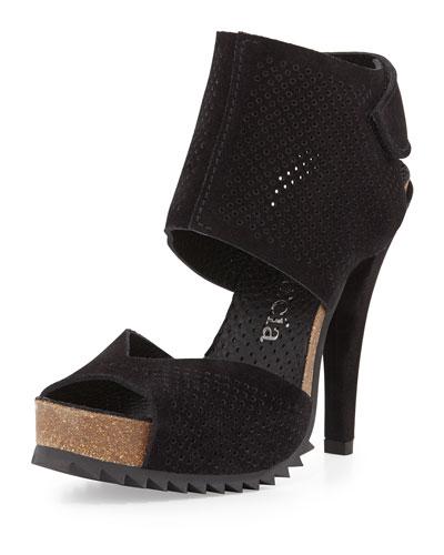 Petal Perforated Leather Sandal, Black