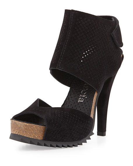 Pedro Garcia Petal Perforated Leather Sandal, Black
