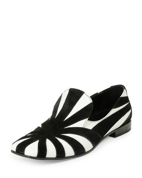 Suede & Leather Slip-On Loafer, Black/Chalk