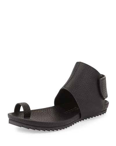 Vania Leather Toe-Ring Sandal, Black