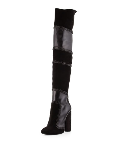 Patchwork Suede & Leather Boot, Black