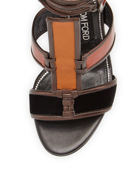 Patchwork Leather Cage Sandal, Multi