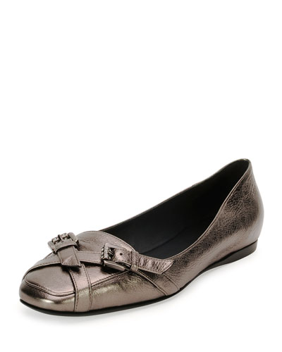 Metallic Jeweled-Buckle Loafer, Silver